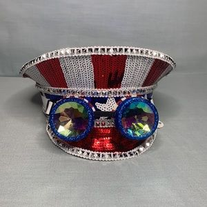 Salute to America Red White Blue Steampunk Hat